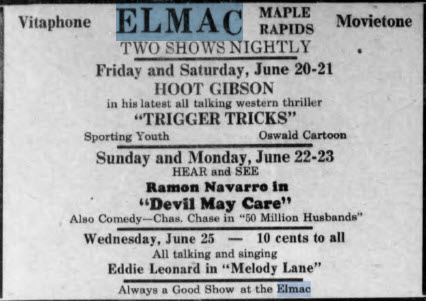Elmac Theater - JUNE 19 1930 AD